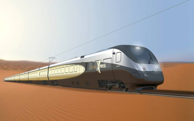 A rendering shows a DesertXpress train, which is expected to reach a top speed of about 150 miles per hour and travel between Victorville, Calif., and Las Vegas.