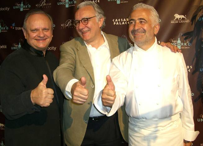 French star chefs Joel Robuchon, Alain Ducasse and Guy Savoy during day two of Vegas Uncork'd.