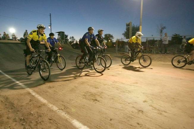 Officers from various agencies ride during the annual BMX Is Not A Crime.