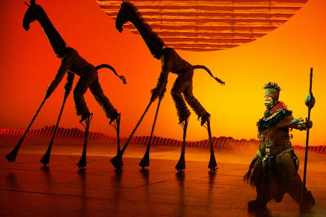 "Buyi Zama performs as ""Rafiki"" during a media run through of selected scenes from the new production of ""The Lion King"" at Mandalay Bay in Las Vegas on Monday, May 11, 2009."