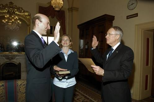 Sen. Harry Reid swears in Gregory B. Jaczko as a commissioner of the Nuclear Regulatory Commission.