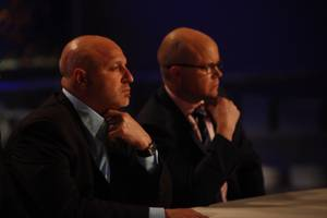 The baldies strike a pose. Head judge Tom Colicchio (left) welcomed back British food critic Toby Young for his first episode of the sixth season.