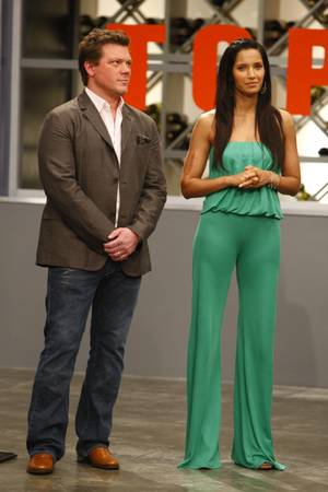 Chef-author-TV personality Tyler Florence and Padma Lakshmi in lots of green.
