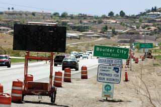 If many in Boulder City have their way, traffic will be diverted from U.S. 93, above, around town. But a study has questioned the value of the project's first phase.