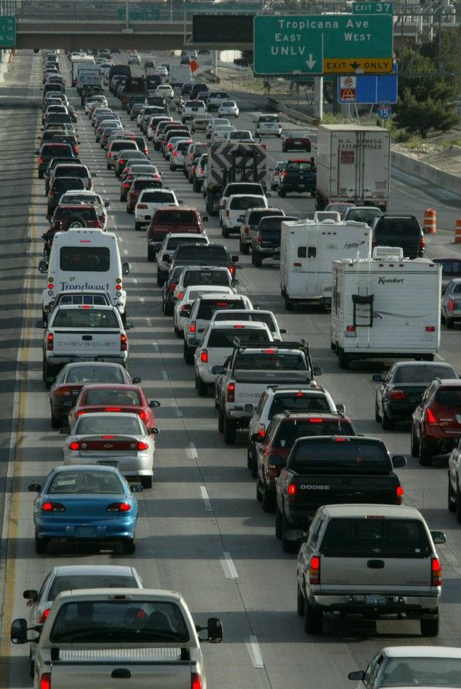 Motorists navigate rush hour traffic on Interstate 15 in Clark County near the Strip.
