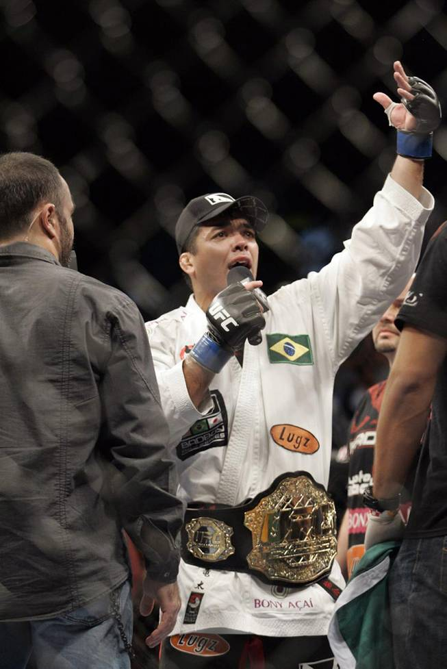 Lyoto Machida addresses the crowd after winning the light heavyweight title over Rashad Evans Saturday night at UFC 98 at the MGM Grand.