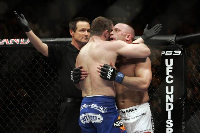 Matt Hughes, left, and Matt Serra hug after their welterweight bout at UFC 98 at MGM Grand Garden Arena in Las Vegas on Saturday, May 23, 2009. Hughes won the grudge match by unanimous decision.