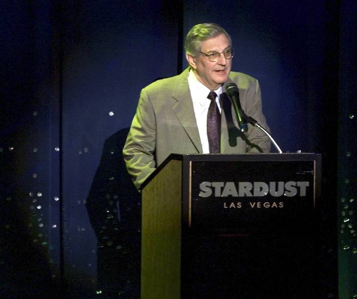 Boyd Gaming Corporation Chairman and CEO William Boyd talks during an entertainment announcement Tuesday, Oct. 26, 1999 at the company's Stardust hotel-casino.