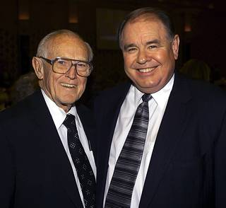 Casino owners Jackie Gaughan, left, and his son Michael Gaughan pose together at a luncheon honoring the elder Gaughan on Thursday, May 4, 2000, at The Orleans.