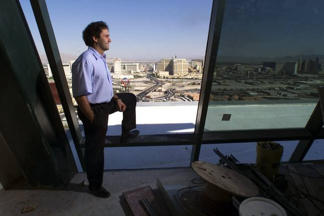 George Maloof, president of the Palms hotel-casino, looks out from the top of the Palms tower Monday, September 17, 2001.
