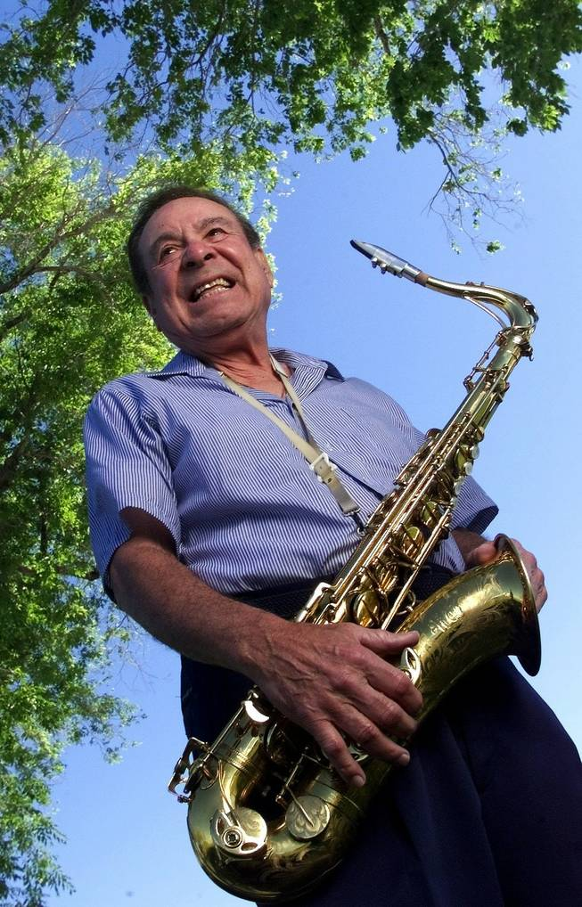 Legendary saxophonist Sam Butera poses Wednesday, April 19, 2000.