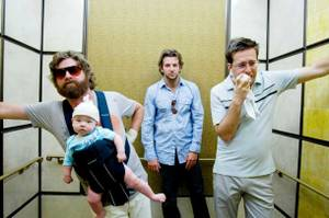 Three men and a baby: Zach Galifianakis, Bradley Cooper and Ed Helms in <em>The Hangover</em>.
