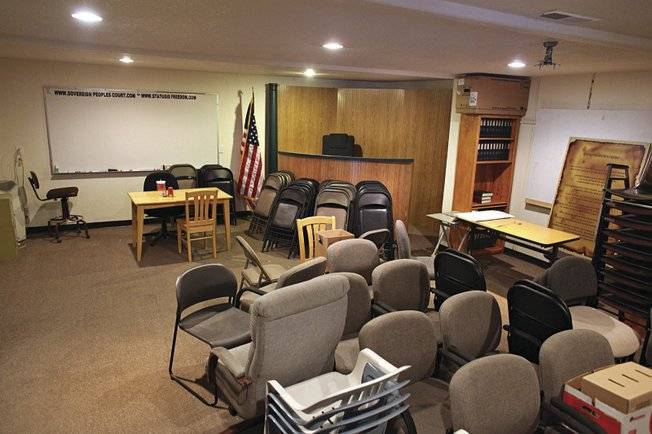 Meetings of the Sovereign People's Court for the United States of America were held in this back room of a printing business until the FBI raided it in March.
