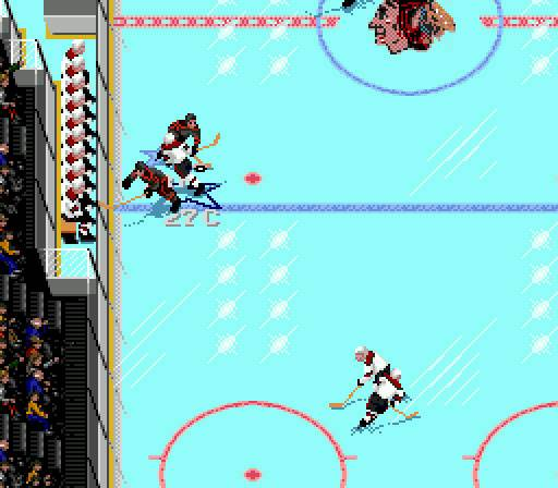 "This screenshot shows the virtual Jeremy Roenick (27) in action on NHL 94 by EA Sports, one of the 1990s' most popular video games. His character on the game earned a spot in pop culture lore when Vince Vaughn uttered the line ""Y'know, it's not so much me as Roenick; he's good ..."" in his first lead role in the 1996 film <i>Swingers</i>."