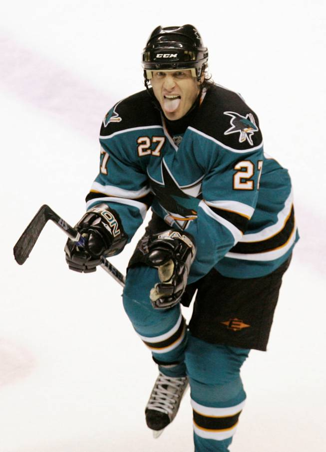 San Jose Sharks center Jeremy Roenick reacts after scoring the game's winning goal on a penalty shot against the Chicago Blackhawks in San Jose, Calif., Saturday, Feb. 2, 2008. San Jose won, in a shootout, 3-2. Roenick will be a presenter next Thursday when the NHL Awards come to the Pearl Concert Theater at the Palms.