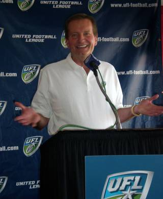 The new head coach of the UFL's Las Vegas franchise, former NFL head coach Jim Fassel, speaks at a press conference inside Sam Boyd Stadium on Thursday afternoon.