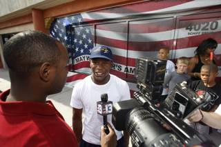 Boxer Floyd Mayweather Jr. talks to reporters outside his gym Thursday, June 11, 2009.  Mayweather is coming out of retirement to fight Juan Manuel Marquez on July 18.