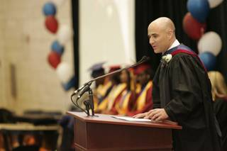 Andre Agassi speaks at the Andre Agassi College Preparatory Academy on Friday.