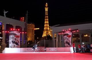 Ryan Kesler, of the Vancouver Canucks, skates in front of Caesars Palace Tuesday as NHL 2K10 holds the first ever outdoor motion capture session.