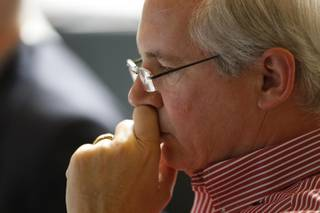 UNLV President David Ashley listens during a Board of Regents meeting at the Desert Research Institute Friday, June 19.