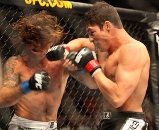 Diego Sanchez, right, lands a big shot to Clay Guida during their main event bout at The Ultimate Fighter on Saturday, June 20, 2009. Sanchez won by split decision.