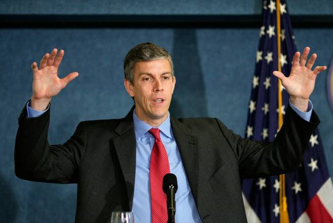 Education Secretary Arne Duncan talks about education reform during a speech at the National Press Club in Washington on May 29. Duncan plans to give $4.35 billion to states that use the most innovation in the first round of stimulus spending, and officials here are concerned that Nevada will miss out because of its conservative spending.