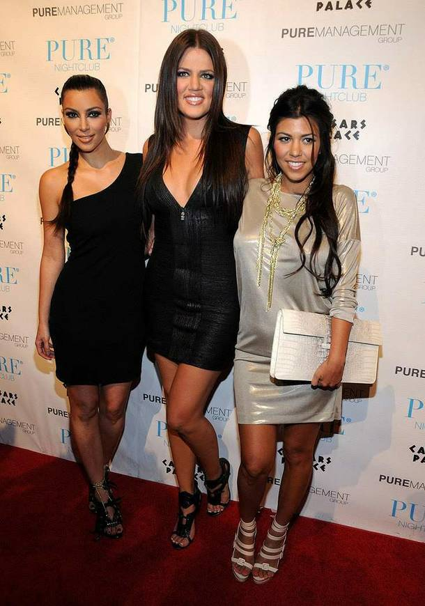 Sisters Kim, Khloe and Kourtney Kardashian at Pure in Caesars Palace.