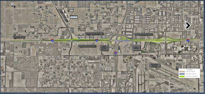 Proposed renovation of the I-15 South corridor extends from Diamond Road to the 215 beltway exchange, and on to Tropicana Avenue. Officials say the construction will improve interstate access and ease congestion.