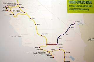 A map of the proposed high-speed train that would go from Las Vegas to Southern California in downtown Las Vegas Thursday, July 2, 2009.