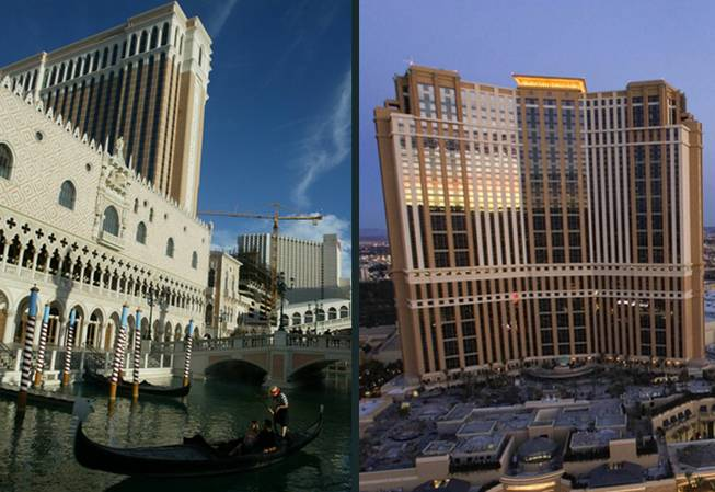 The Venetian, left, and Palazzo hotel-casinos on the Las Vegas Strip.