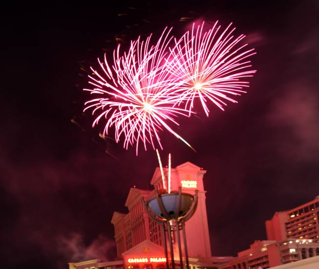 Thousands watched a Fourth of July fireworks display Saturday night at Caesars Palace on the Las Vegas Strip.