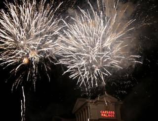Thousands watched a fireworks display Saturday night at Caesars Palace on the Las Vegas Strip.