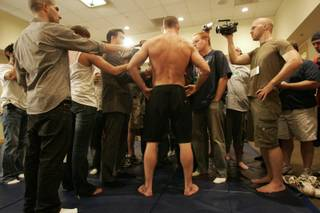 Michael Bisping talks to the media after a light workout Wednesday, July 8, 2009 at Mandalay Bay. Bisping will face off against Dan Henderson Saturday, July 11 at UFC 100.