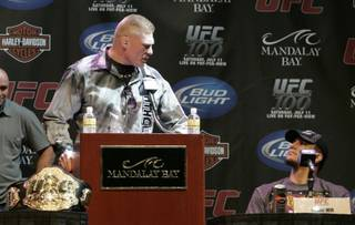 Brock Lesnar tells his competitor Frank Mir that he better be prepared for their fight during a news conference for UFC 100 at Mandalay Bay Thursday, July 9, 2009. UFC 100 takes place Saturday, July 11th at the Mandalay Bay Events Center.