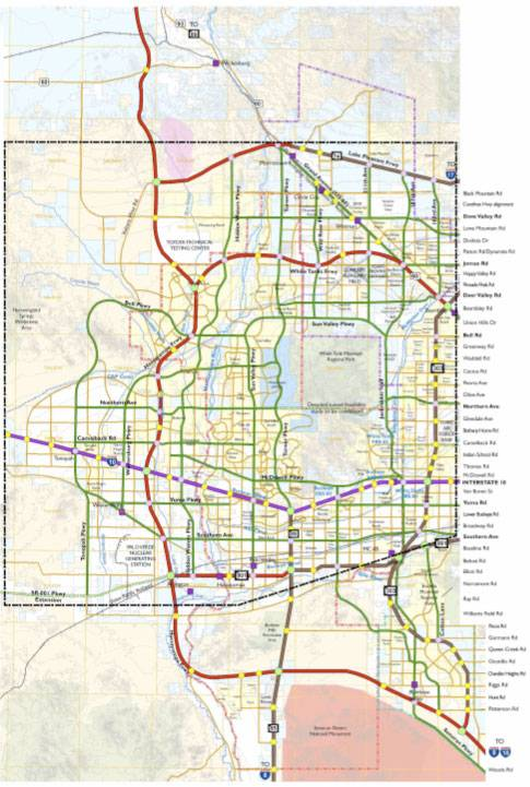 The proposed Hassayampa Freeway through the western Phoenix suburbs is outlined in red along the left of the map.
