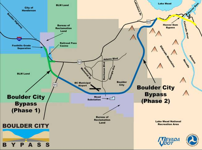 This Nevada Department of Transportation graphic shows the route of the proposed Boulder City Bypass. If U.S. 93 is designated an interstate between Las Vegas and Phoenix, the bypass route would become part of the interstate, officials say.