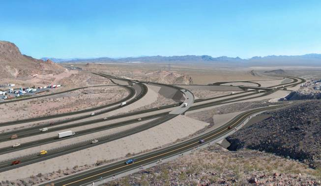 This artist's rendering shows what the redesigned interchange of Boulder City Bypass and U.S. 93 would look like at Railroad Pass. Railroad Pass Casino is at left. If U.S. 93 is designated an interstate between Las Vegas and Phoenix, the bypass route would become part of the interstate, officials say.