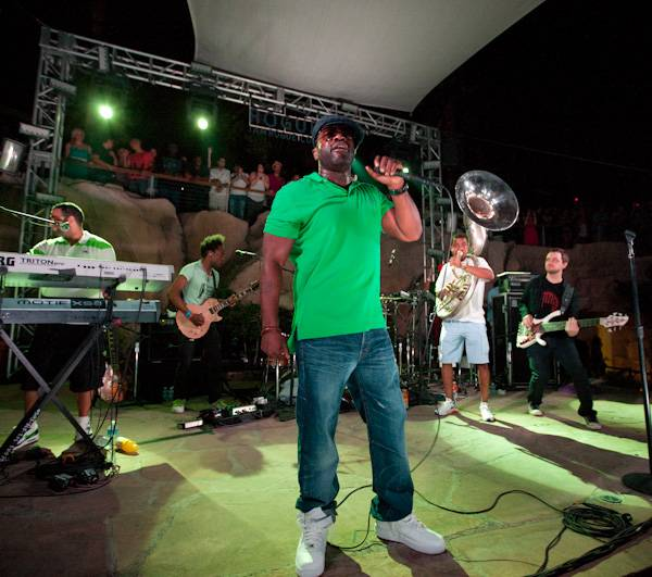 The Roots perform poolside at the Hard Rock Hotel as part of the casino's Friday Night Live concert series.
