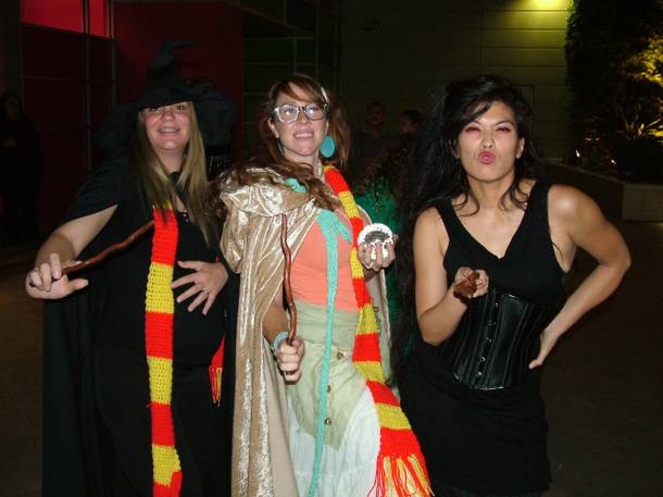 Amanda Villeux, Leah Villalobos and Clarita Kendall show it's not just little kids who enjoy dressing up for Harry Potter films.