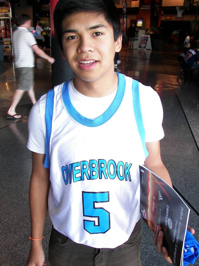 The hands-down winner of our informal and unofficial week-long jersey contest at the NBA Summer League. Coronado High graduate Jules Cruz, 17, wears Wilt Chamberlain's replica jersey from Overbrook High.