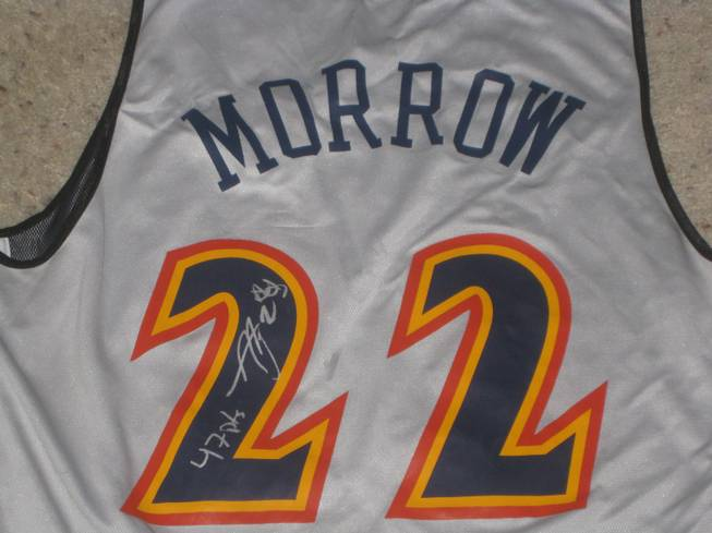 Hoops fan Brad Nolan, who caught Anthony Morrow's jersey in the stands following his record-setting performance on Thursday, submitted this photo displaying the unique inscription the Warriors guard scrawled on the back.