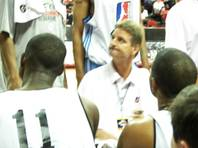 NBA Development League Select coach Scott Roth addresses his players during a timeout Friday night against Phoenix at the Thomas & Mack Center. The D-Leaguers won their first two NBA Summer League games but lost to the Suns, 95-89.