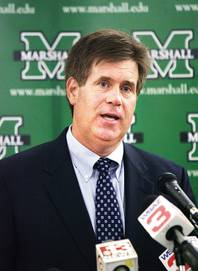 Mike Hamrick announces at a Monday news conference in Huntington, W.Va., his decision to step down as UNLV's athletic director so he could assume the same job at his alma mater, Marshall University.