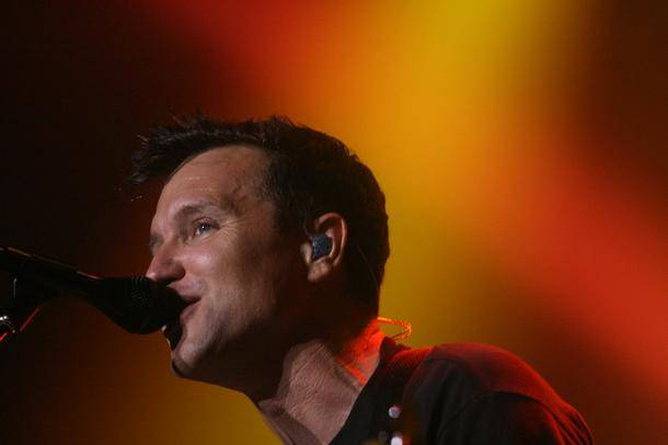 Bassist Mark Hoppus performs with Blink-182 at the Joint at the Hard Rock Hotel.