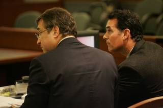 Danny Tarkanian, right, and his attorney, Gus Flangas, listen to testimony from state Sen. Mike Schneider (D-Las Vegas). Tuesday was the first day of a civil trial resulting from a lawsuit filed by Tarkanian against Schneider claiming defamation during the 2004 senate campaign.