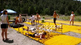 A group of children try the obstacle course at Camp Cartwheel. In its 13th year, the camp is an outdoor, four-day program for critically ill children and their siblings between the ages of 5 and 17. The camp is located at Torino Ranch in Lovell Canyon.