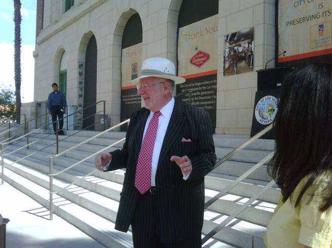 Mayor Oscar Goodman announces developments at the site of The Mob Museum in downtown Las Vegas on Aug. 4, 2009.