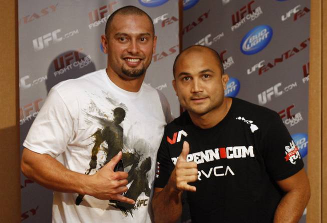 Fighters with the Ultimate Fight Championship hold workouts at the Loews Hotel in Center City Philadelphia on Wednesday afternoon August 5, 2009. Pictured at left is Philadelphia Phillies Shane Victorino with ultimate fighter BJ Penn. Penn is a lightweight fighting out  of Hilo, Hawaii. Victorino attended workouts for Penn to show his support.