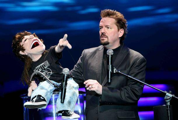 Mirage singing ventriloquist headliner Terry Fator and Duggie.
