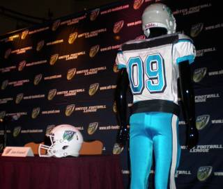 The upstart United Football League unveiled Las Vegas' team name, the Locomotives, and uniforms at a press conference inside the Palms on Monday morning.